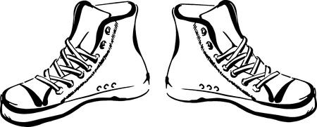 pies bailando: Dibujado a mano zapatillas sabuesos aislados sobre fondo blanco
