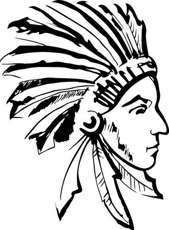 indian chief headdress: Nativi americano capo indiano Vettoriali