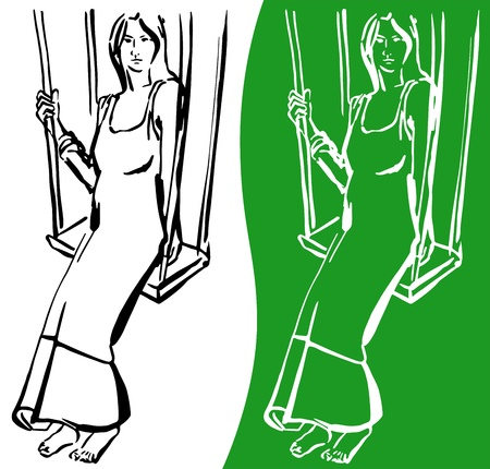 Contour line drawing of a pregnant woman sitting on a swing Vector