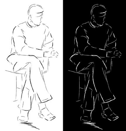 sit back: Sketch of a sitting man Illustration