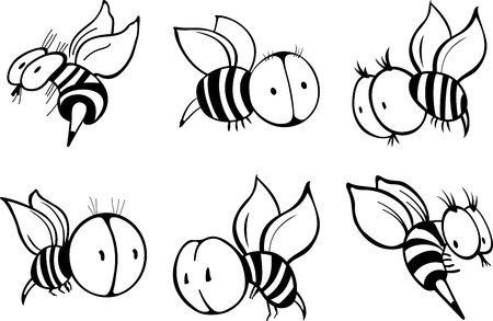 Set with cartoon bee silhouettes (black and white) Vector