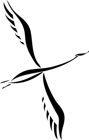Silhouette of a flying swan Vector