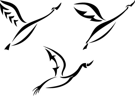 Silhouette of a flying swans Vector