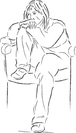 teeny: Sketch of sitting young woman Illustration