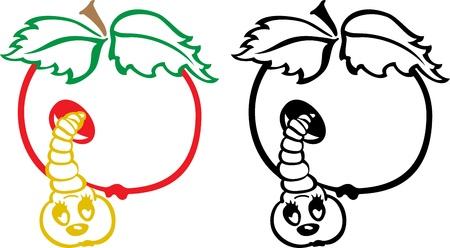 apple bite: Worm and apple - black and white cartoon illustration
