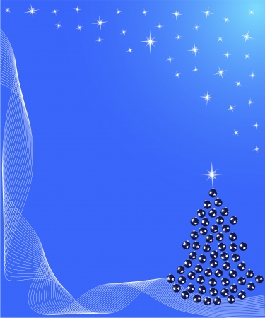 Christmas tree with star and decoration in blue Vector