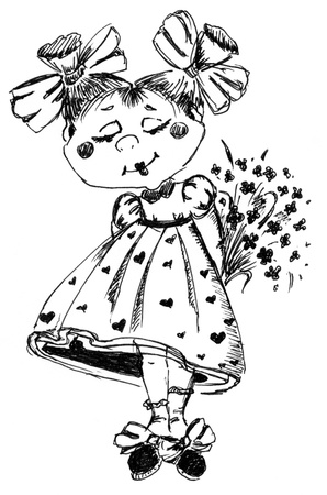 timid: The timid girl with a bunch of flowers  Drawing made by hand Stock Photo