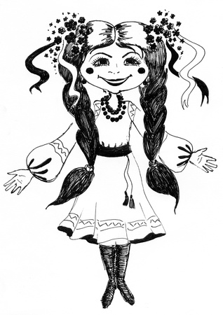 tress: The girl in national Ukrainian clothes  Drawing made by hand Stock Photo
