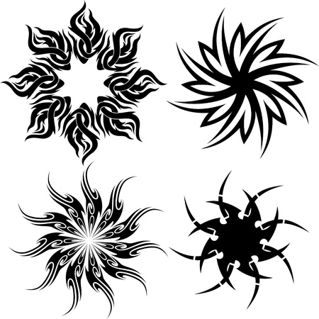 Circle tribal tattoo isolated on white Vector