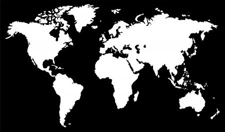 Wereldkaart zwart en wit