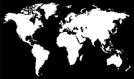 physical geography: World map  black and white