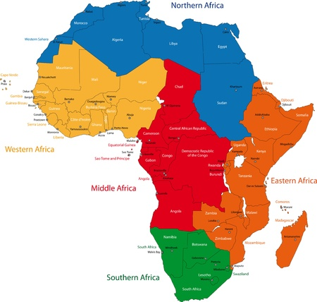 continents: Colorful regions of Africa with countries and capital cities