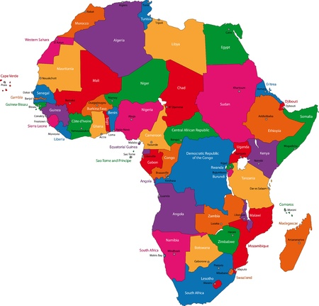 continents: Colorful Africa map with countries and capital cities