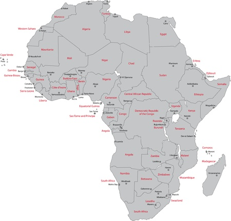 Africa map with countries and capital cities Vector