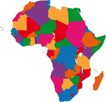 ethiopia abstract: Colorful Africa map with countries and capital cities