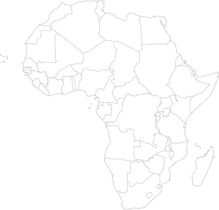 sudan: Outline of Africa map with countries Illustration