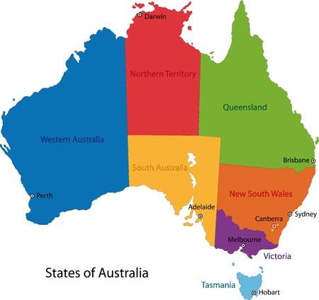 mapa politico: Colorful Australia mapa con las regiones y principales ciudades