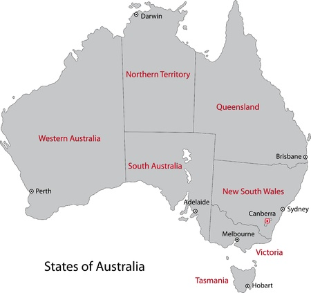 melbourne australia: Gray Australia map with regions and main cities