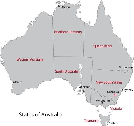 sydney australia: Gray Australia map with regions and main cities