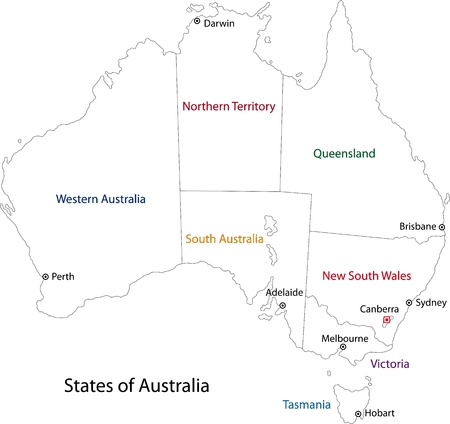 Outline Australia map with regions and main cities Vector