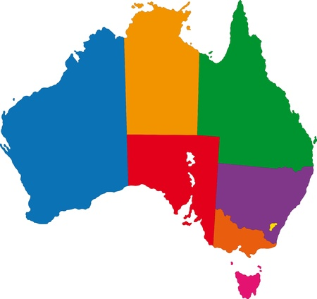 Map of administrative divisions of Australia Vector