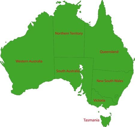 オーストラリアの行政区分の地図