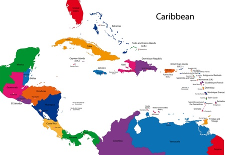rico: Colorful Caribbean map with countries and capital cities