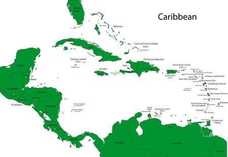 Kaart van het Caribisch gebied met de landen en hoofdsteden