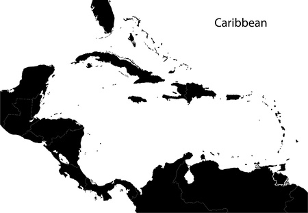 Black Caribbean map separated on the countries