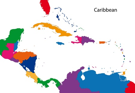 Colorful Caribbean map with countries Illustration