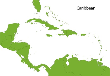 Caribbean map with countries Vector