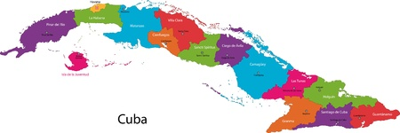 havana: Colorful Cuba map with provinces and capital cities