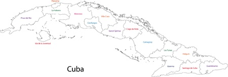 havana cuba: Outline Cuba map with provinces