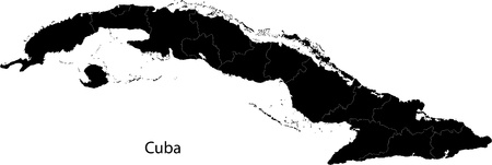 havana: Black Cuba map with provinces