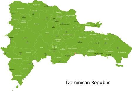 dominican republic: Dominican Republic map with provinces and capital cities Illustration