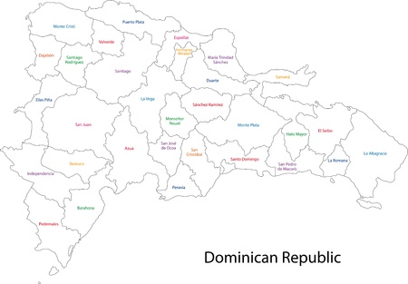 Outline Dominican Republic map with provinces