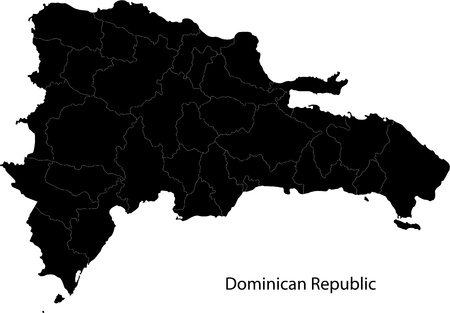Black Dominican Republic map separated on the provinces Vector
