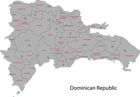 Dominican Republic map with provinces and capital cities Vector