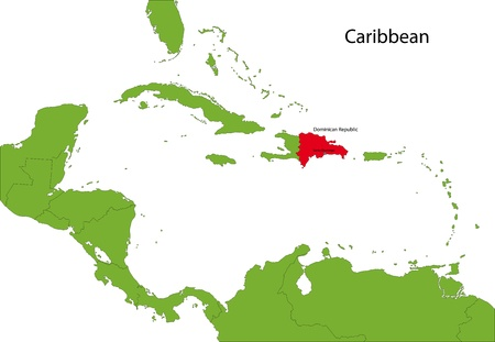 Location of Dominican Republic on the Caribbean Vector