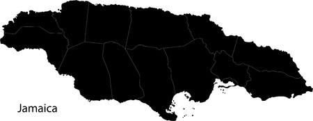 kingston: Black Jamaica map with parishes borders