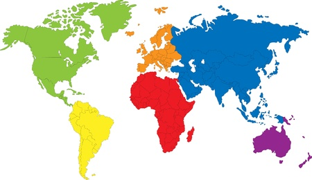 Colored map of the World with countries borders Ilustração