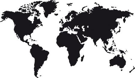 Carte noire de monde avec des frontières des pays Banque d'images - 21687846