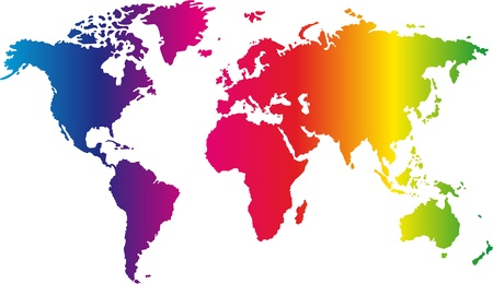 primary colours: World map painted in seven primary colours