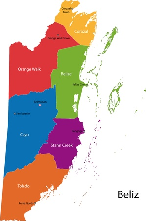Belize map designed in illustration with the regions colored in bright colors and with the main cities  Vector