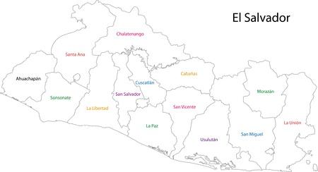 mapa de el salvador: Divisiones administrativas de El Salvador Vectores