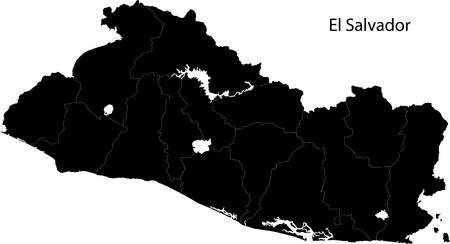 mapa de el salvador: Negro El Salvador con el mapa del departamento de fronteras Vectores