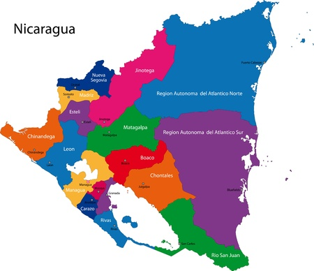 nicaragua: Map of the Republic of Nicaragua with the departments colored in bright colors and the main cities