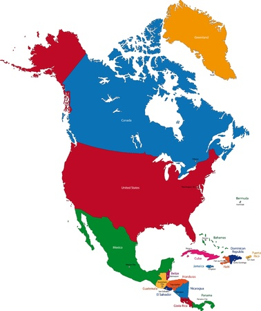 north america: Colorful North America map with countries and capital cities