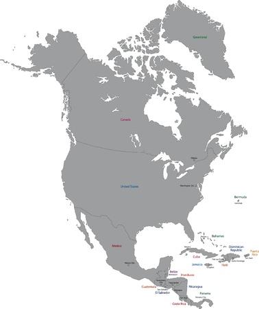 norte: Gris Norteamérica mapa con los países y sus capitales Vectores