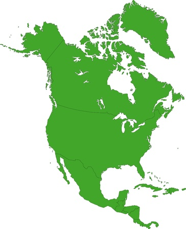 north america map: Green North America map with country borders Illustration